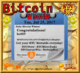 07/25/17 #Bitcoin Reward Summary: #BTCStory Daily Drawing, #BTCMicroTasks #BTCInstantWin